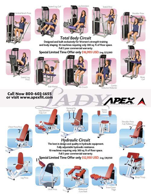 strength circuits, curcuit weight training, apex circuit, Apex lady circuit
